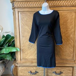 Cynthia Rowley black sheath midi dress blue trim